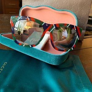 Authentic GUCCI 55 Plaid Acetate Square sunglasses